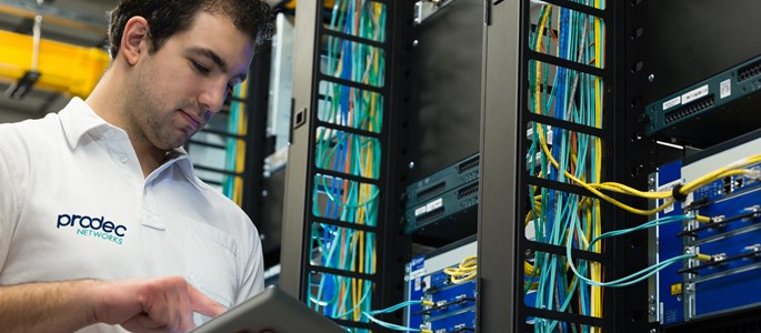 Managed IT Services - A Prodec engineer works on a server