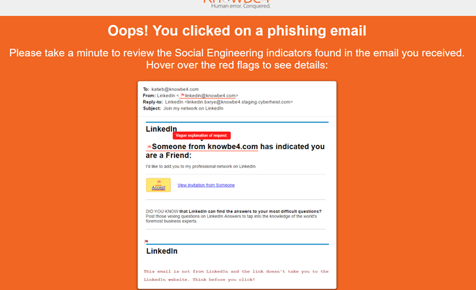 Email Security and Training - Knowbe4 phishing simulation solution email