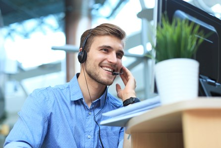 Customer contact centres - Contact centre employee using a headset