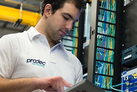 Interactive screens - Prodec engineer in a datacentre