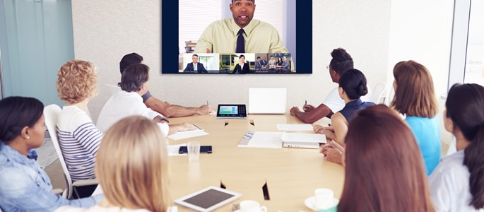 Interactive screens - Video conferencing technology being used in a meeting room